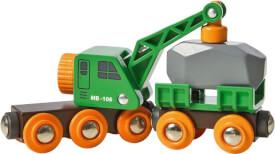 BRIO 33698003 Grüner Kranwagen mit Anhänger und Fracht, Holz, Kunststoff, ab 3 Jahren