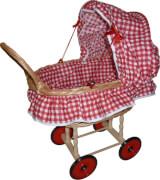 Puppen-Korbwagen mit Garnitur, rot / weiß Karo, ca. 59x34x31 cm, ab 3 Jahren