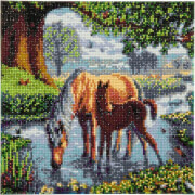 Crystal Art Leinwand Ponys 30x30 cm