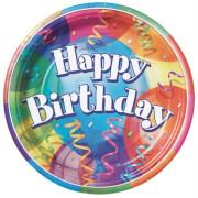 Happy Birthday Brilliant Pappteller 23 cm 8 Stück